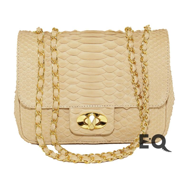Светло-бежевая сумочка из питона