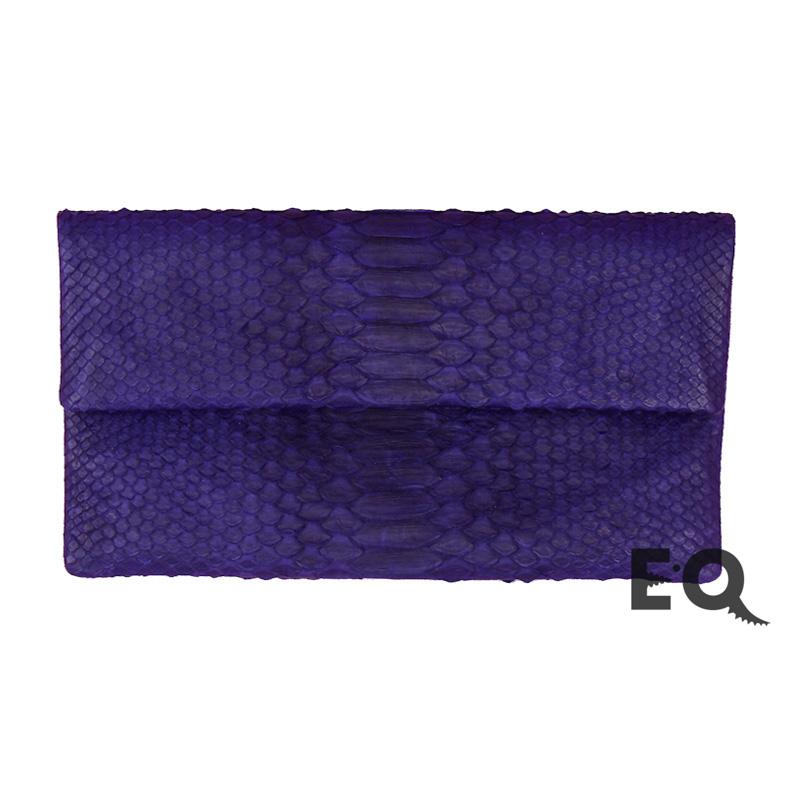 Темно-фиолетовый клатч из питона