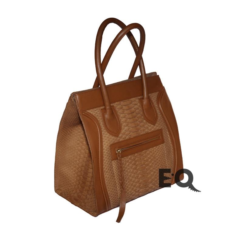 Коричневая сумка Celine из питона